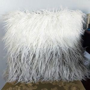 Fluffy 😻 Gray/White Throw Pillow w/ Downy Insert